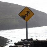 Caution: breakdancers at cliff edge (Dingle, Ireland)
