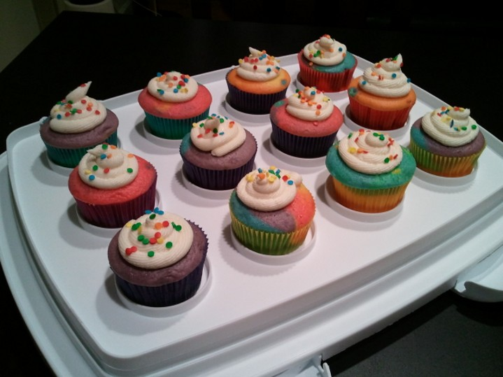 made Double Rainbow cupcakes for my Double Rainbow themed birthday ...